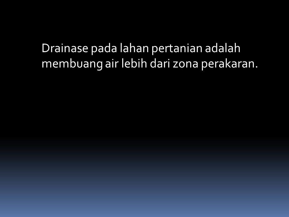 Drainase pada lahan pertanian adalah membuang air lebih dari zona perakaran.