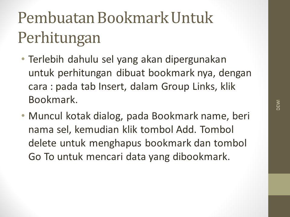 Pembuatan Bookmark Untuk Perhitungan