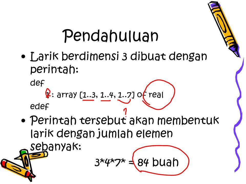 Pendahuluan Larik berdimensi 3 dibuat dengan perintah: