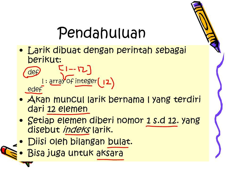 Pendahuluan Larik dibuat dengan perintah sebagai berikut: def