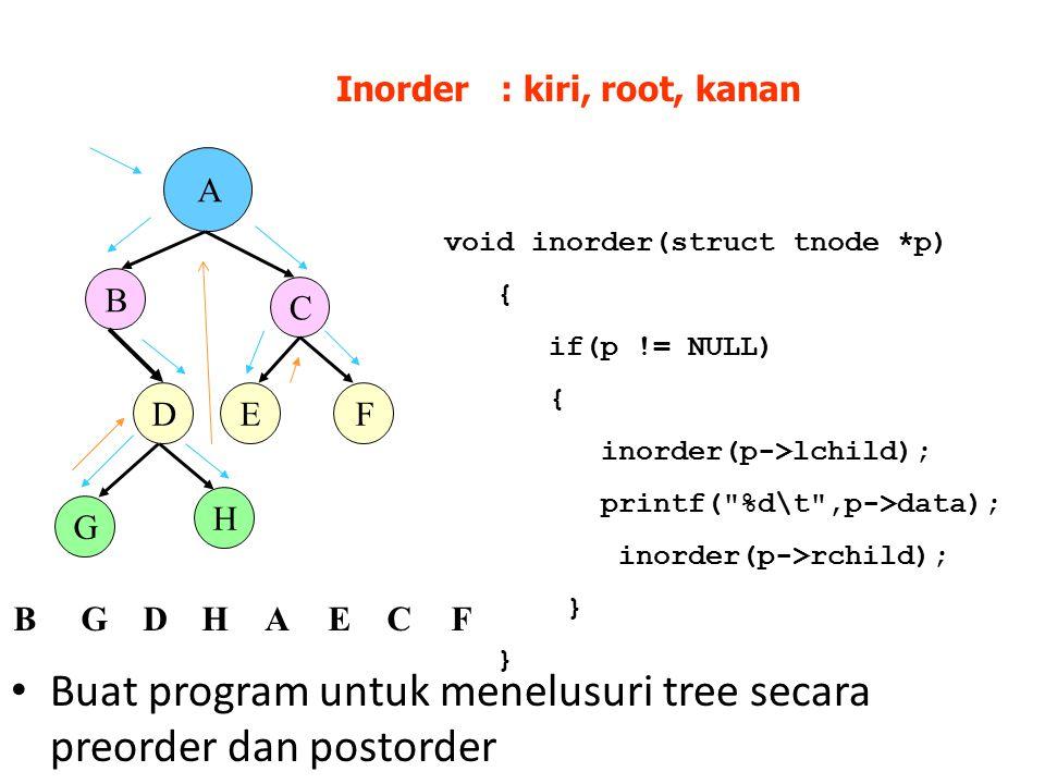 Buat program untuk menelusuri tree secara preorder dan postorder