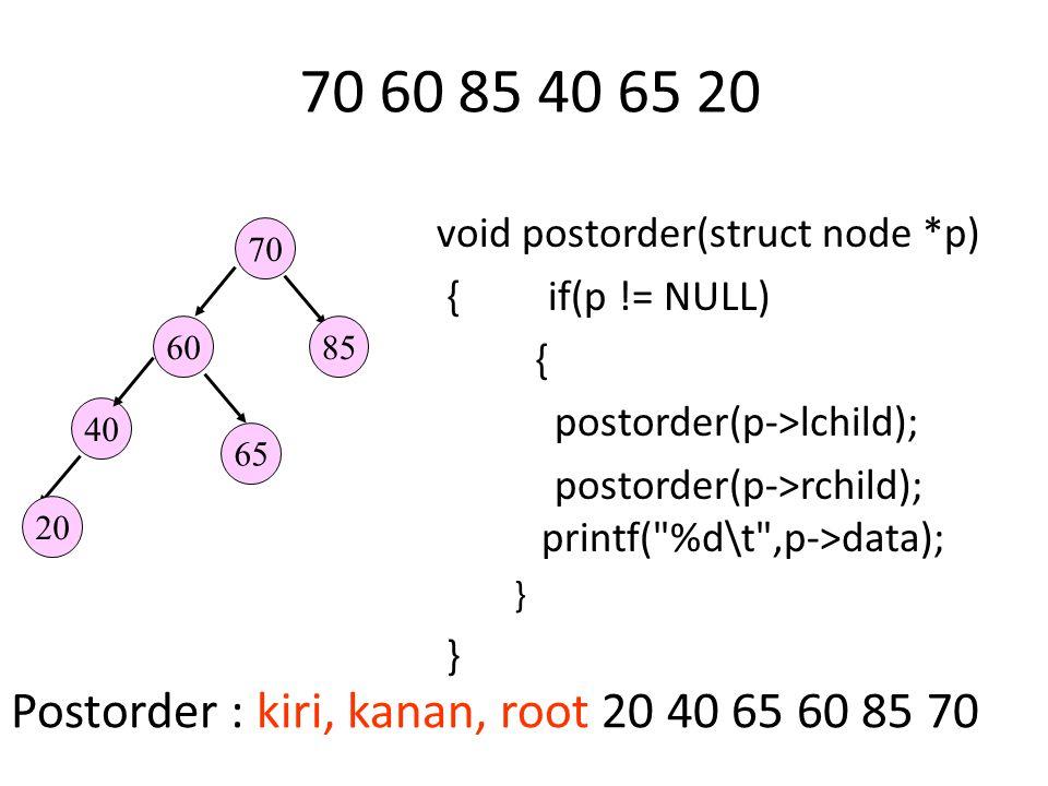 70 60 85 40 65 20 Postorder : kiri, kanan, root 20 40 65 60 85 70