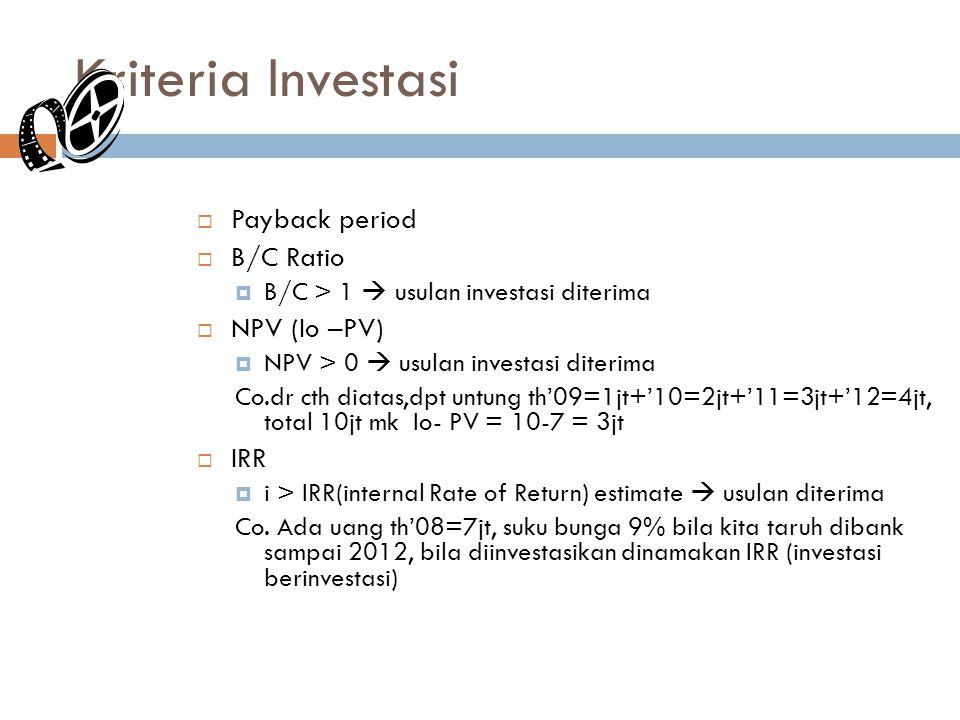 Kriteria Investasi Payback period B/C Ratio NPV (Io –PV) IRR