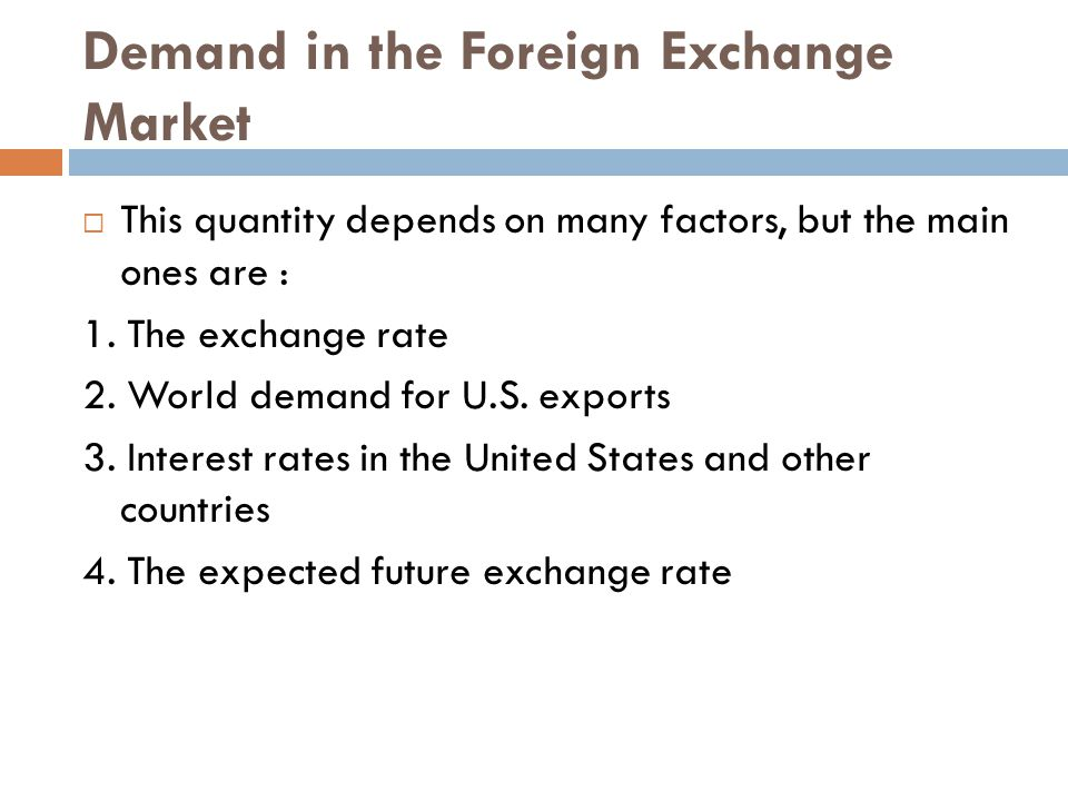 Demand in the Foreign Exchange Market