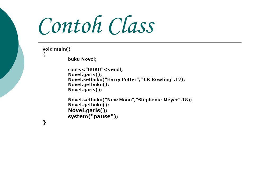 Contoh Class system( pause ); } void main() { buku Novel;