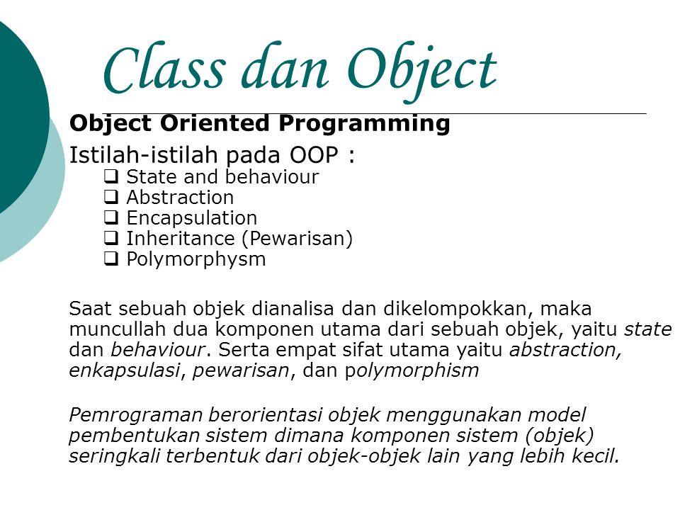 Class dan Object Object Oriented Programming