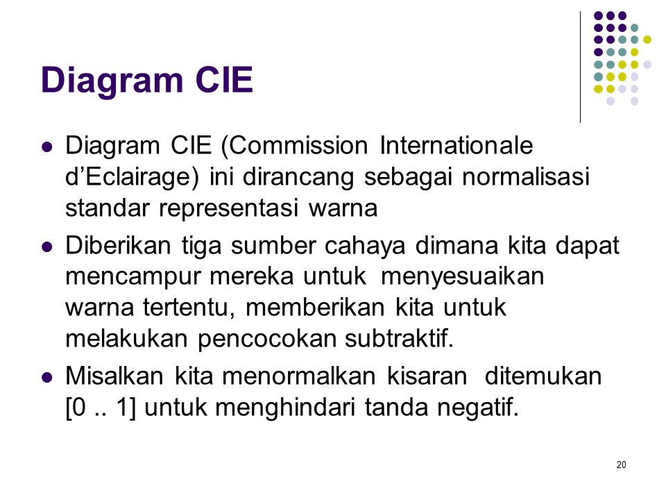 Diagram CIE Diagram CIE (Commission Internationale d'Eclairage) ini dirancang sebagai normalisasi standar representasi warna.