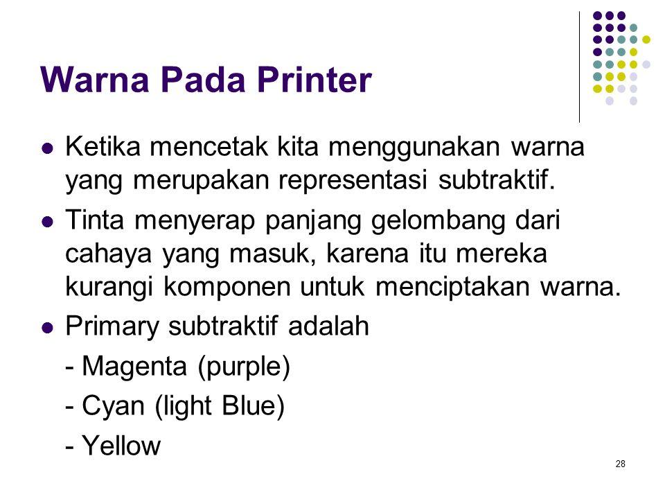 Warna Pada Printer Ketika mencetak kita menggunakan warna yang merupakan representasi subtraktif.