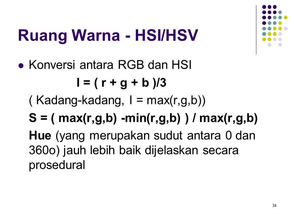 Ruang Warna - HSI/HSV Konversi antara RGB dan HSI I = ( r + g + b )/3