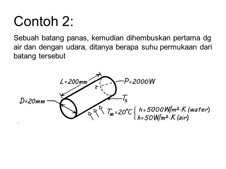 Contoh 2: Sebuah batang panas, kemudian dihembuskan pertama dg air dan dengan udara, ditanya berapa suhu permukaan dari batang tersebut.