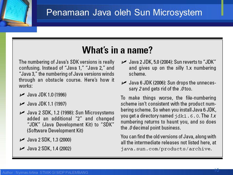 Penamaan Java oleh Sun Microsystem