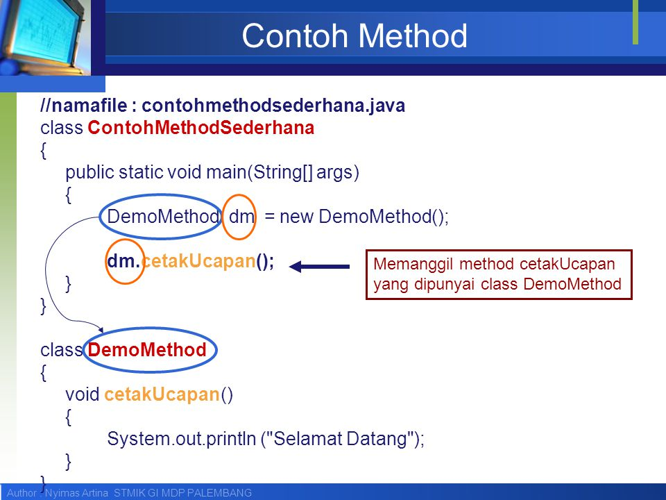 Contoh Method //namafile : contohmethodsederhana.java