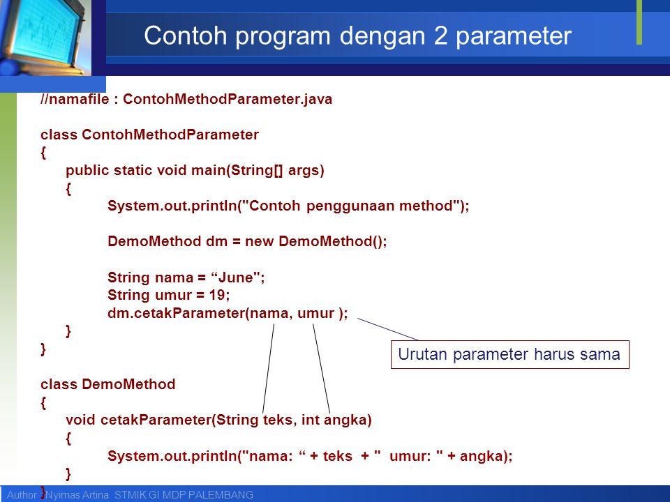 Contoh program dengan 2 parameter