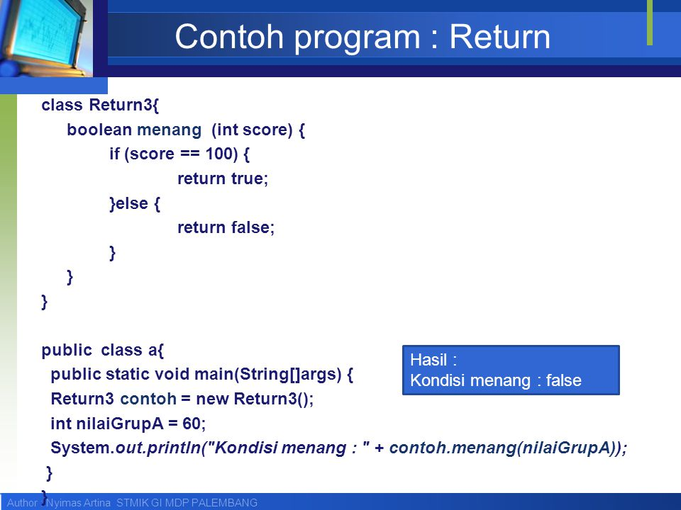 Contoh program : Return