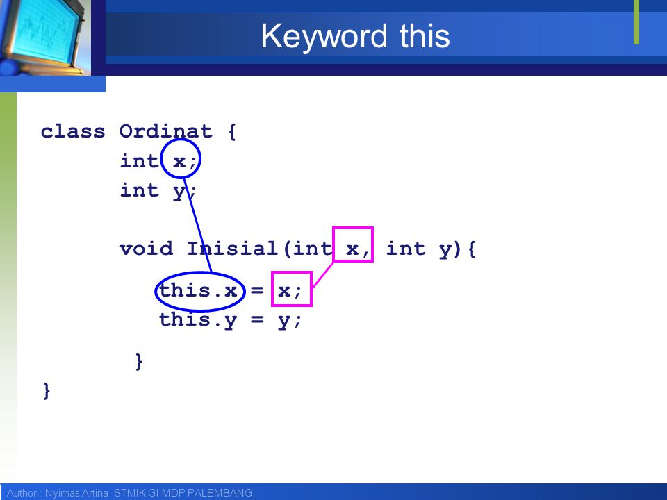 Keyword this class Ordinat { int x; int y; void Inisial(int x, int y){