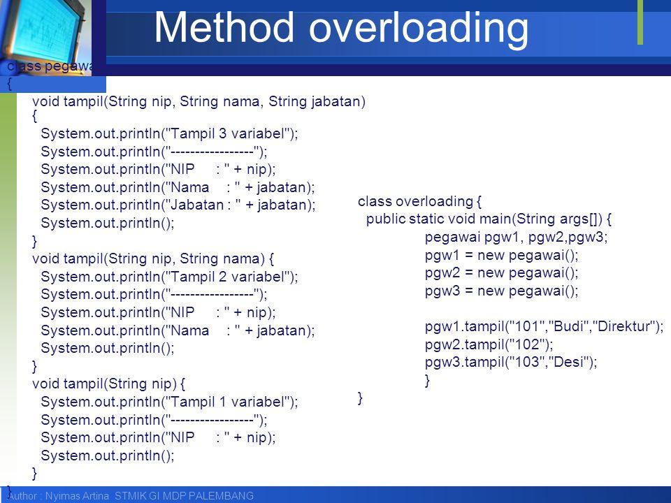Method overloading class pegawai {