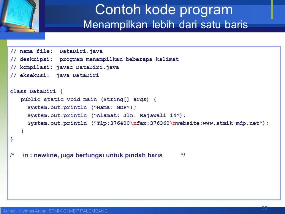 Contoh kode program Menampilkan lebih dari satu baris