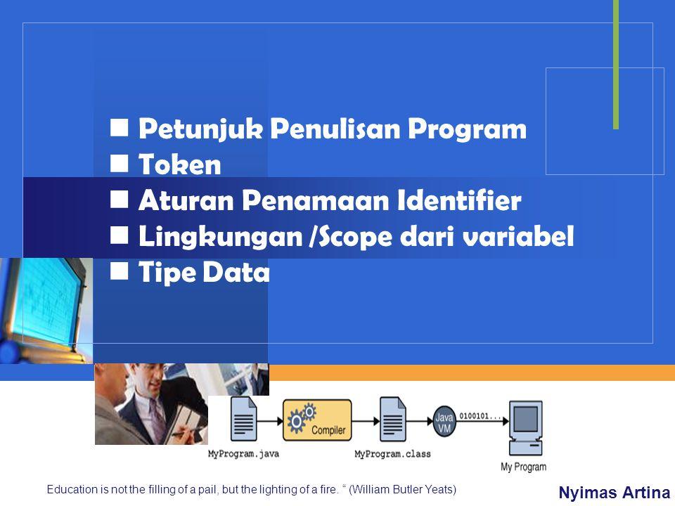 Petunjuk Penulisan Program Token Aturan Penamaan Identifier
