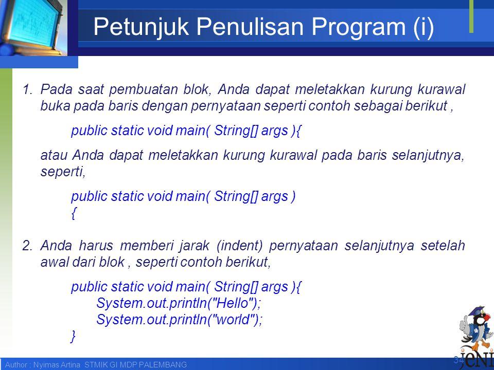 Petunjuk Penulisan Program (i)