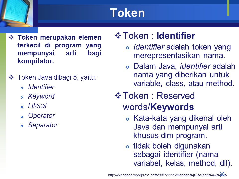 Token Token : Identifier Token : Reserved words/Keywords