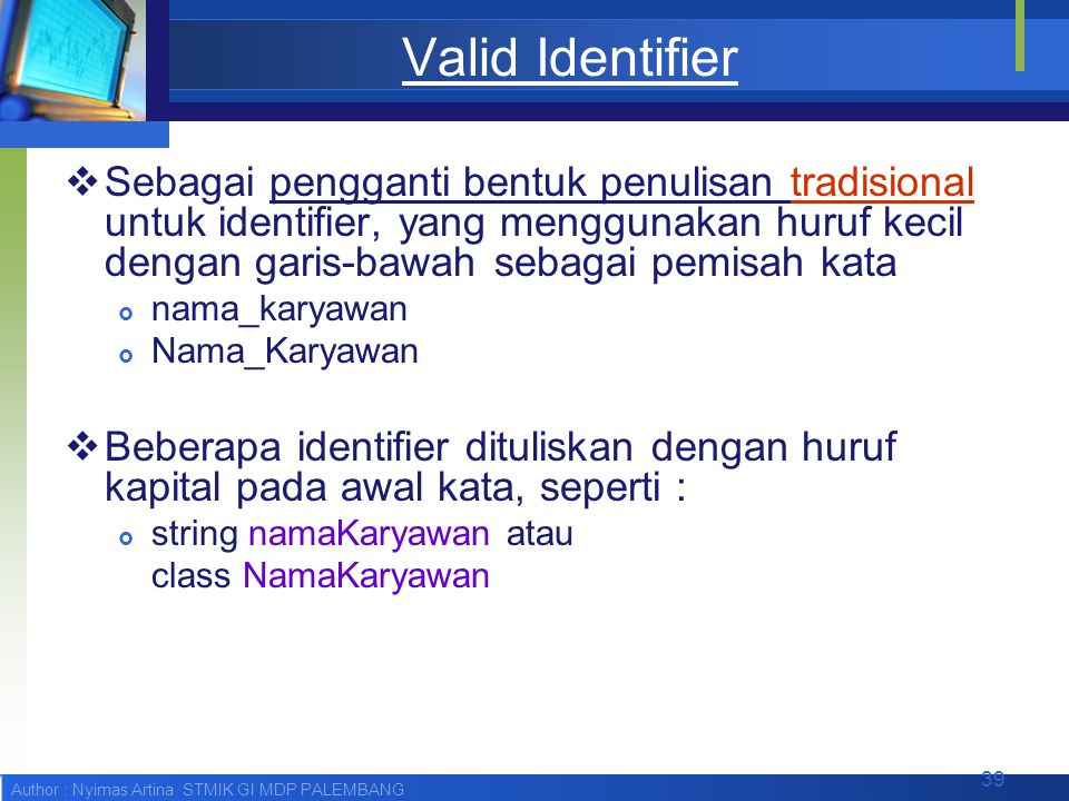 Valid Identifier