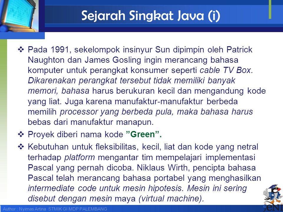 Sejarah Singkat Java (i)
