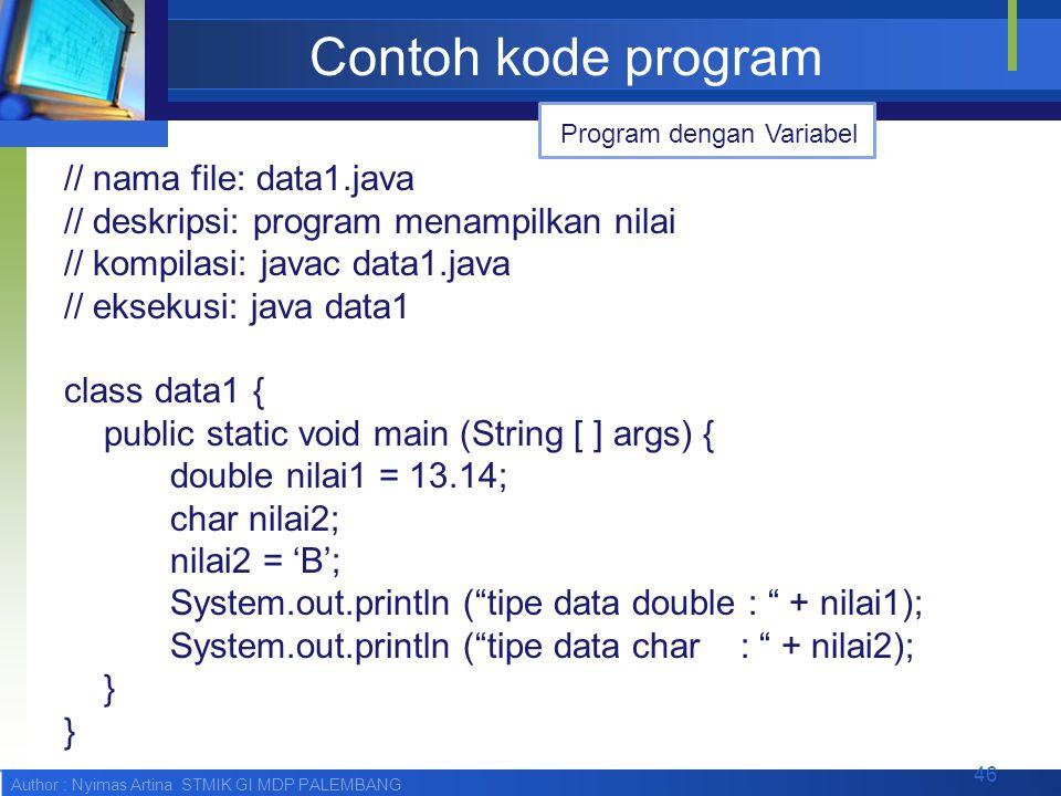 Contoh kode program Program dengan Variabel