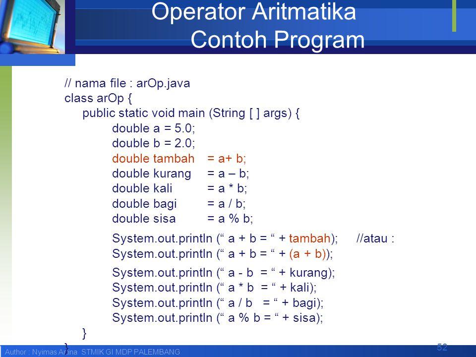 Operator Aritmatika Contoh Program