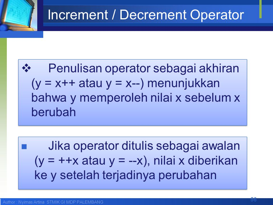 Increment / Decrement Operator