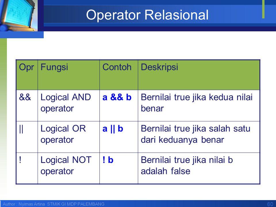 Operator Relasional Opr Fungsi Contoh Deskripsi &&