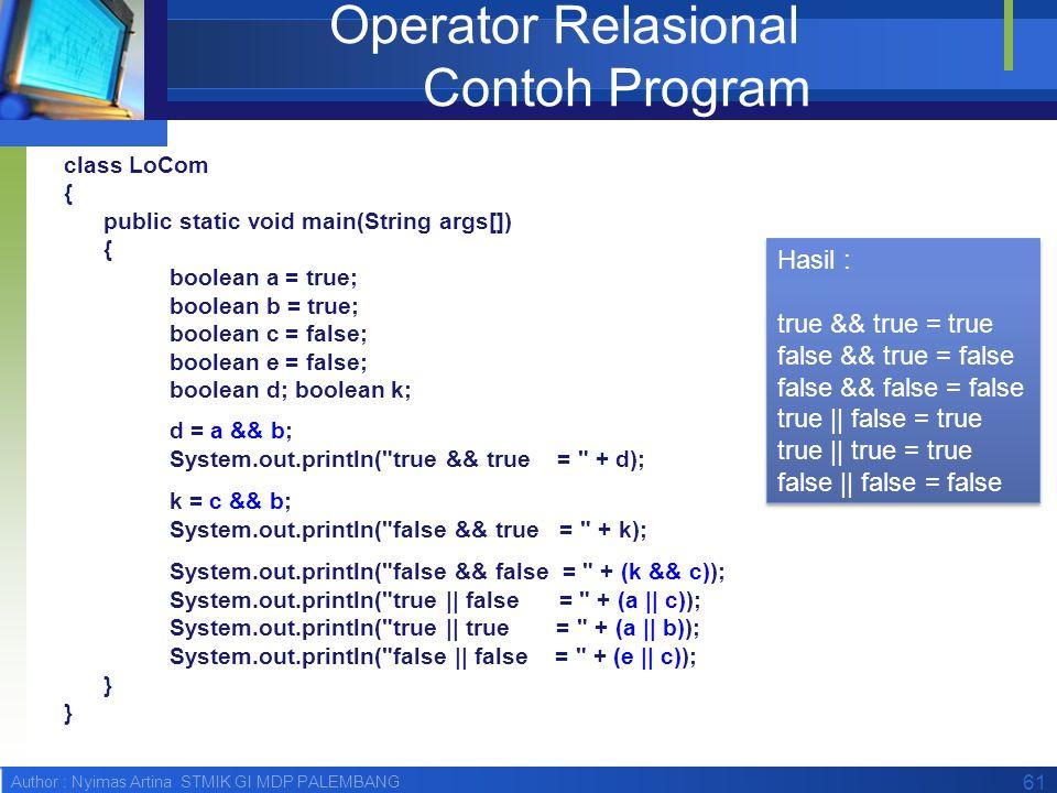 Operator Relasional Contoh Program