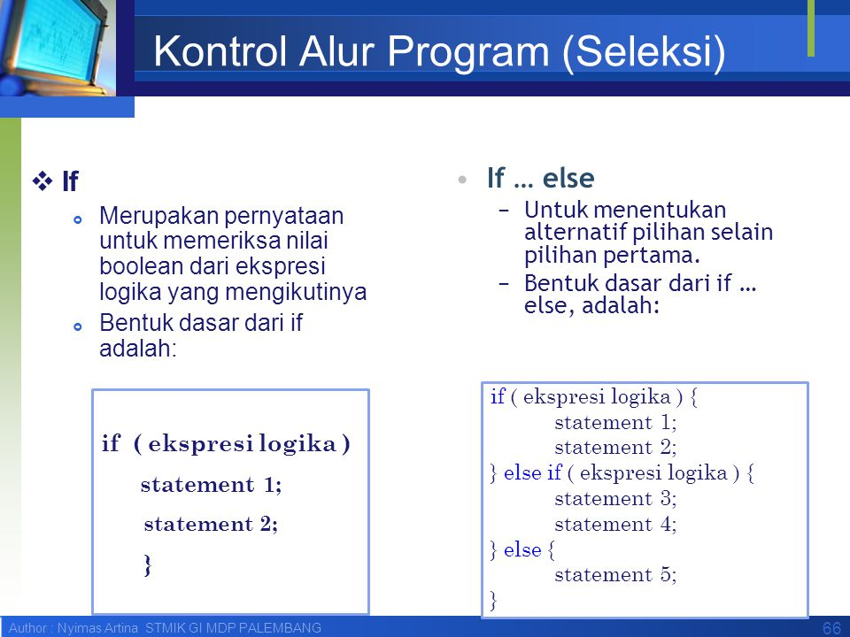 Kontrol Alur Program (Seleksi)