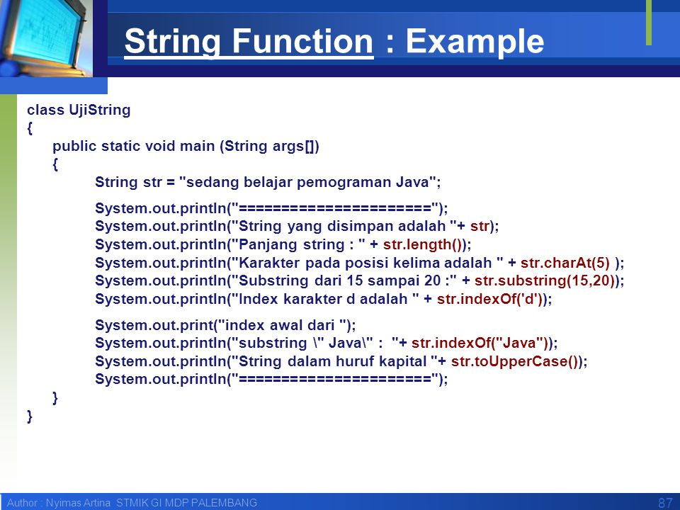 String Function : Example