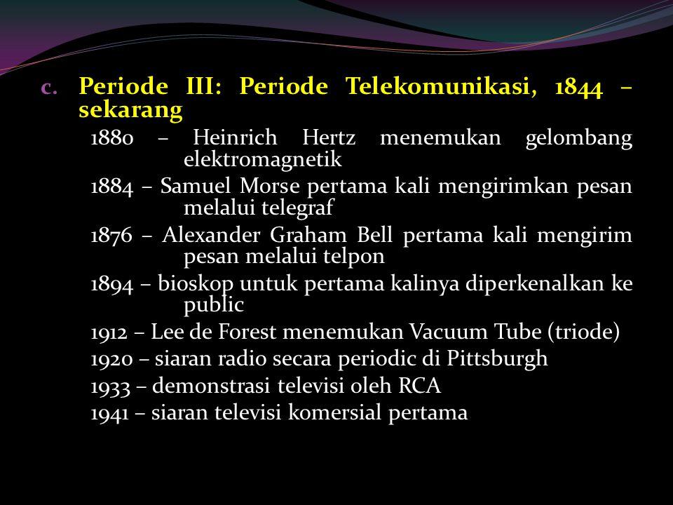 Periode III: Periode Telekomunikasi, 1844 – sekarang