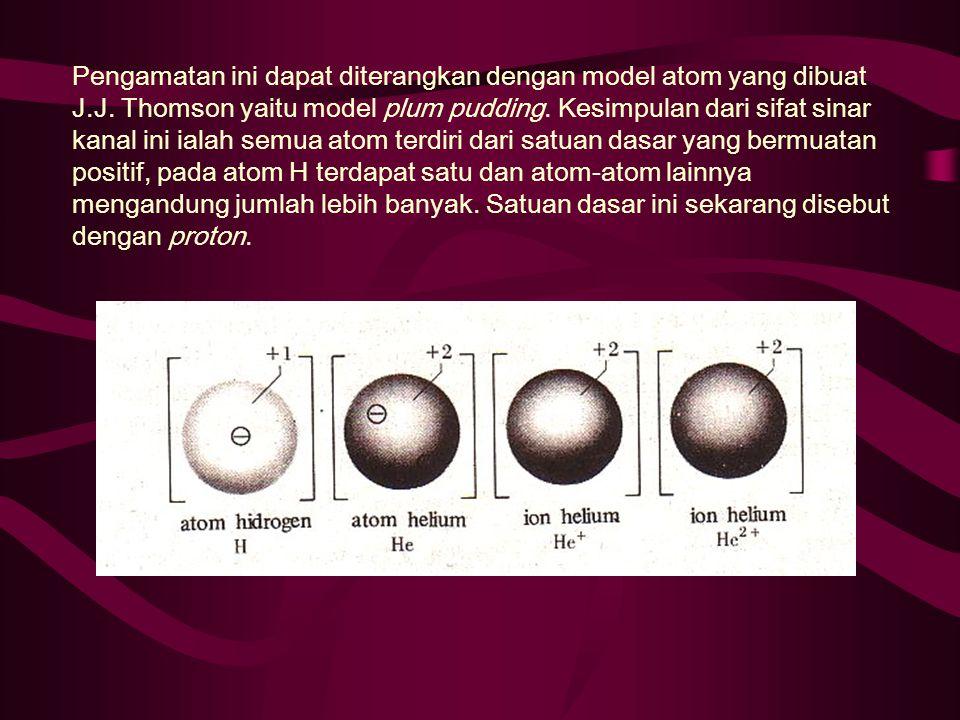 Pengamatan ini dapat diterangkan dengan model atom yang dibuat J. J