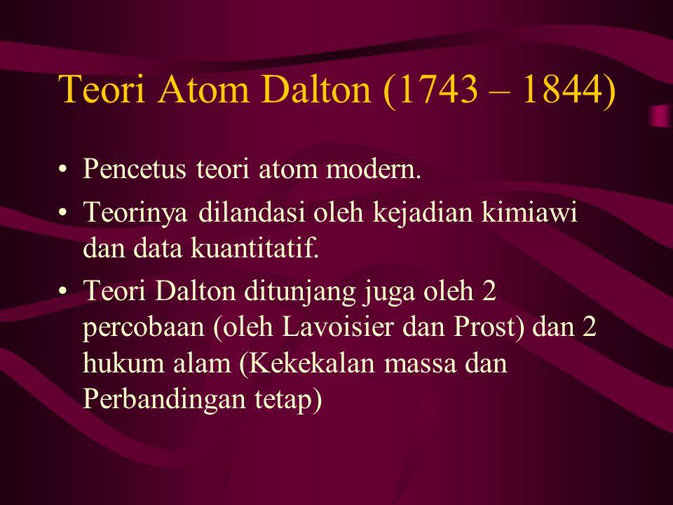 Teori Atom Dalton (1743 – 1844) Pencetus teori atom modern.