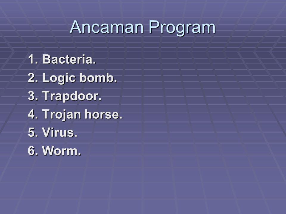 Ancaman Program 1. Bacteria. 2. Logic bomb. 3. Trapdoor.