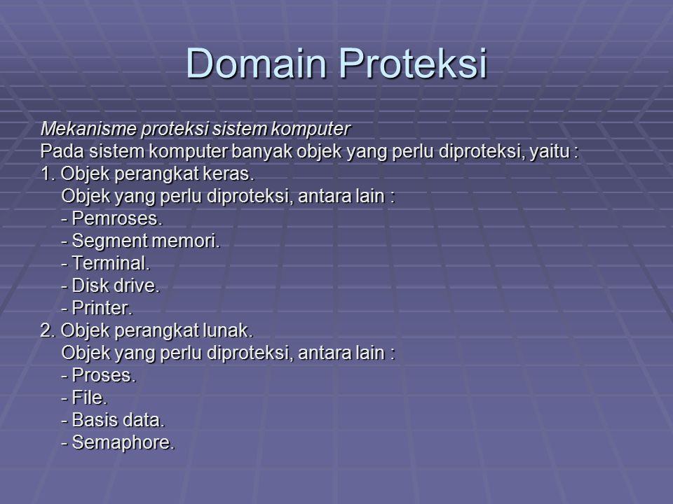 Domain Proteksi Mekanisme proteksi sistem komputer