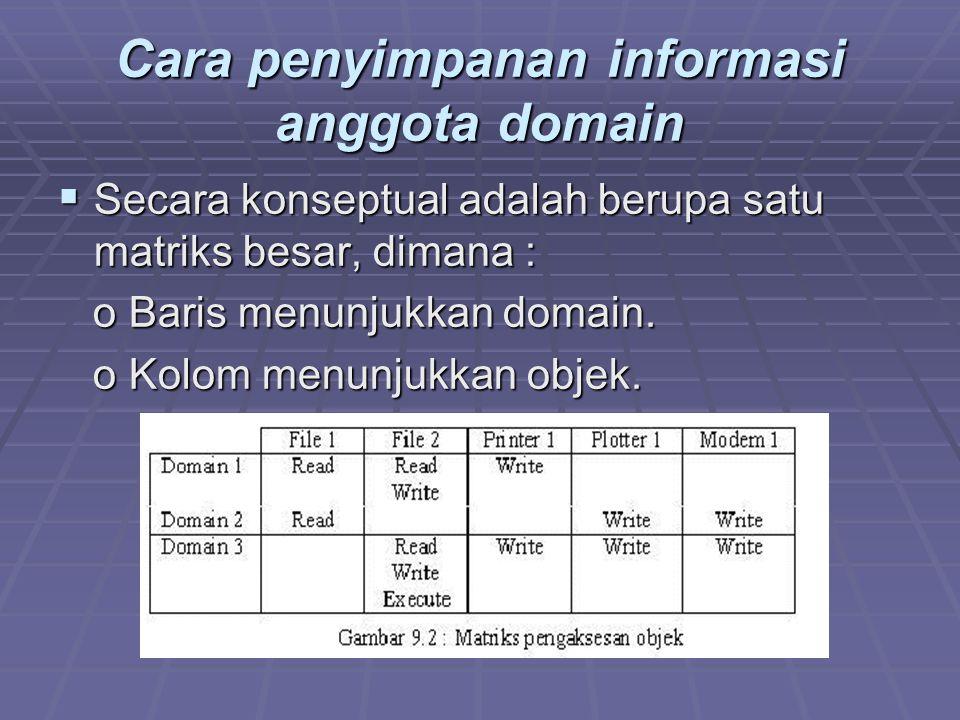 Cara penyimpanan informasi anggota domain
