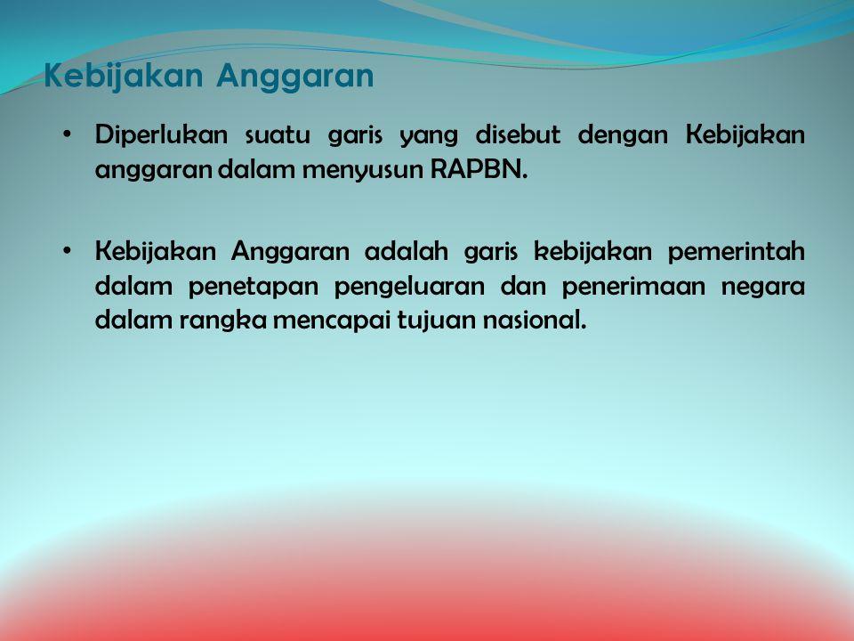 Kebijakan Anggaran Diperlukan suatu garis yang disebut dengan Kebijakan anggaran dalam menyusun RAPBN.