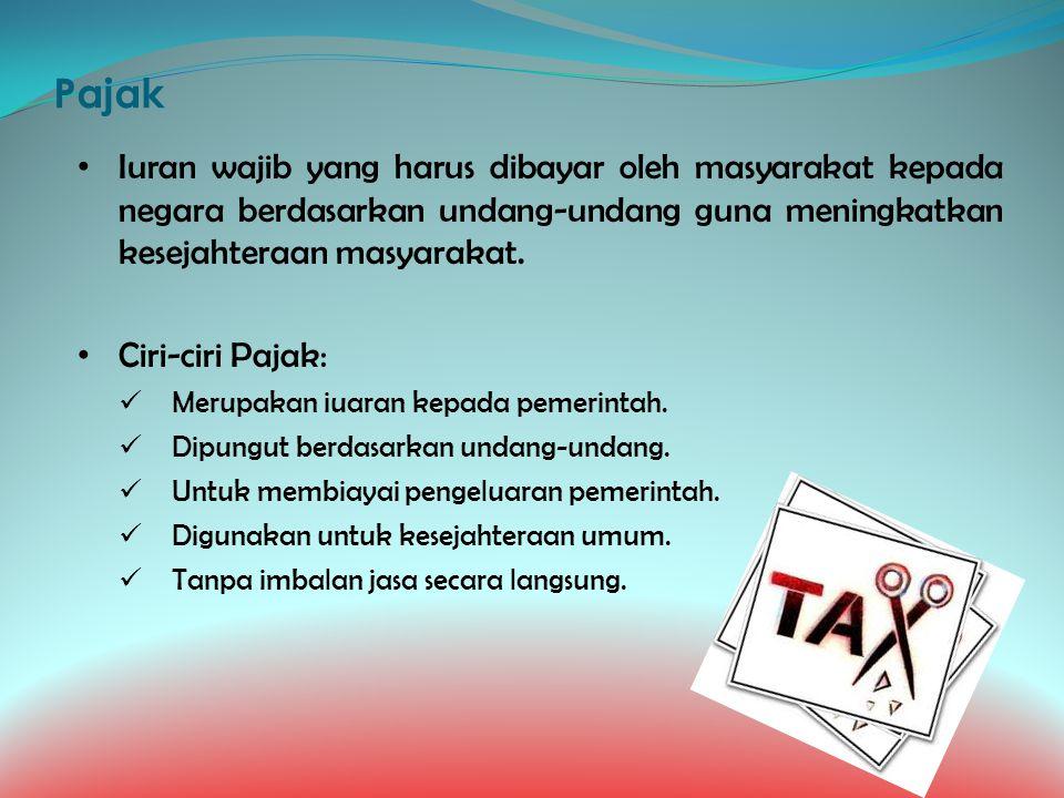 Pajak Iuran wajib yang harus dibayar oleh masyarakat kepada negara berdasarkan undang-undang guna meningkatkan kesejahteraan masyarakat.