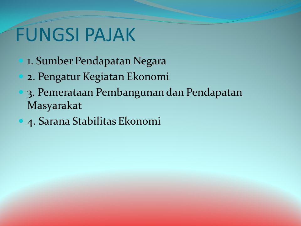 FUNGSI PAJAK 1. Sumber Pendapatan Negara 2. Pengatur Kegiatan Ekonomi