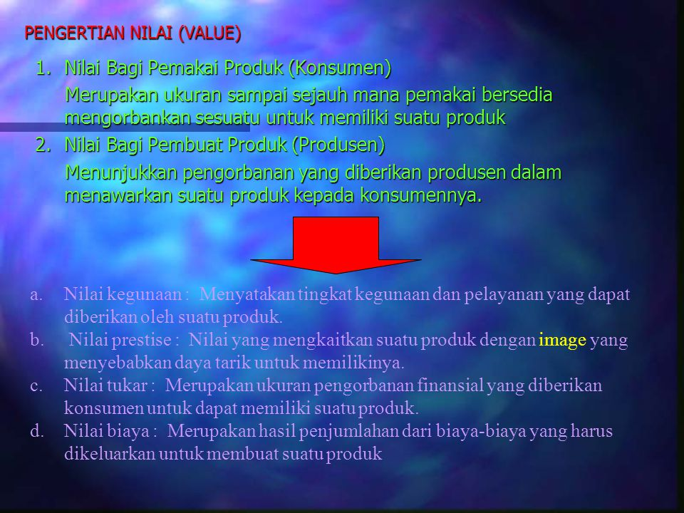 PENGERTIAN NILAI (VALUE)