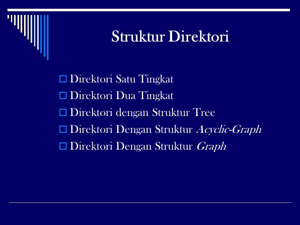 Struktur Direktori Direktori Satu Tingkat Direktori Dua Tingkat