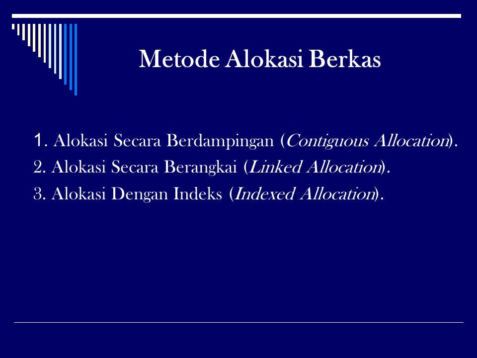 Metode Alokasi Berkas 1. Alokasi Secara Berdampingan (Contiguous Allocation). 2. Alokasi Secara Berangkai (Linked Allocation).