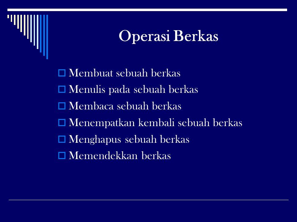 Operasi Berkas Membuat sebuah berkas Menulis pada sebuah berkas