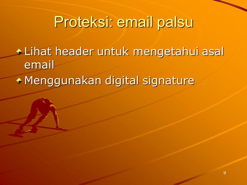 Proteksi: email palsu Lihat header untuk mengetahui asal email