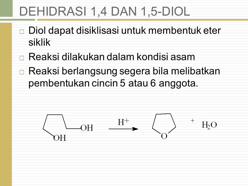DEHIDRASI 1,4 DAN 1,5-DIOL Diol dapat disiklisasi untuk membentuk eter siklik. Reaksi dilakukan dalam kondisi asam.