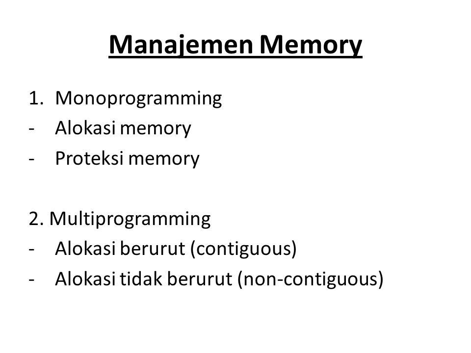 Manajemen Memory Monoprogramming Alokasi memory Proteksi memory
