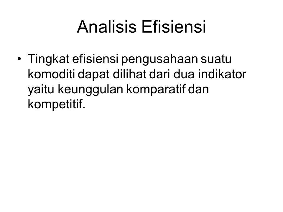 Analisis Efisiensi Tingkat efisiensi pengusahaan suatu komoditi dapat dilihat dari dua indikator yaitu keunggulan komparatif dan kompetitif.